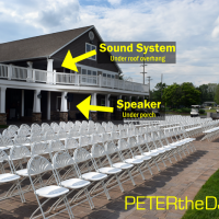 Click for larger view: How the sound system and speaker were close, but out of sight during the ceremony.