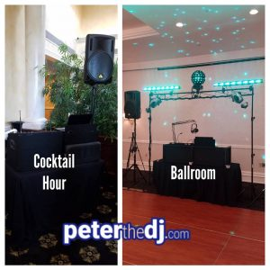 DJ setups at Natalie and Matthew's wedding reception at the Genesee Grande Hotel in Syracuse, NY, June 2018.