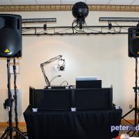 Wedding DJ setup at Bethany and Brian's wedding at Skyline Lodge, Highland Forest, Fabius, NY. November 2018. Photo by DJ Peter Naughton peterthedj.com
