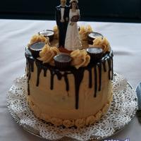 Wedding cake at Bethany and Brian's wedding at Skyline Lodge, Highland Forest, Fabius, NY. November 2018. Photo by DJ Peter Naughton peterthedj.com