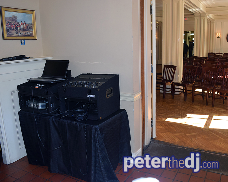 Small sound system for wedding ceremony at Lincklaen House. Alexandra and Mark's wedding, photo by Wedding DJ Peter Naughton, June 2019.