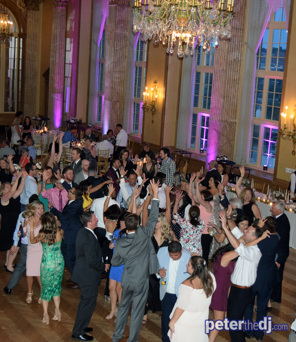 Liz and Brian's wedding reception in the Grand Ballroom at Syracuse Marriott Downtown. Photo by DJ Peter Naughton peterthedj.com July 2019.